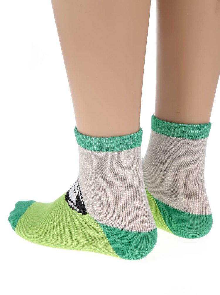 Sada tří vzorovaných klučičích ponožek v šedé a zelené barvě 5.10.15.