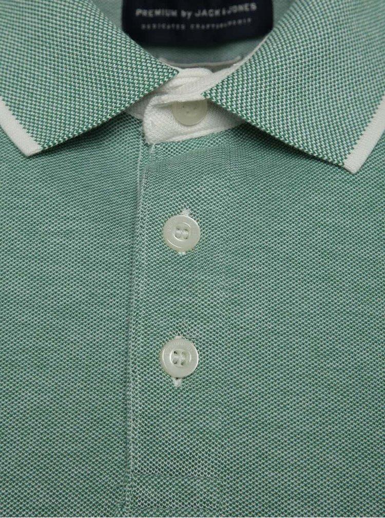 Zelené žíhané polo triko Jack & Jones Paulos
