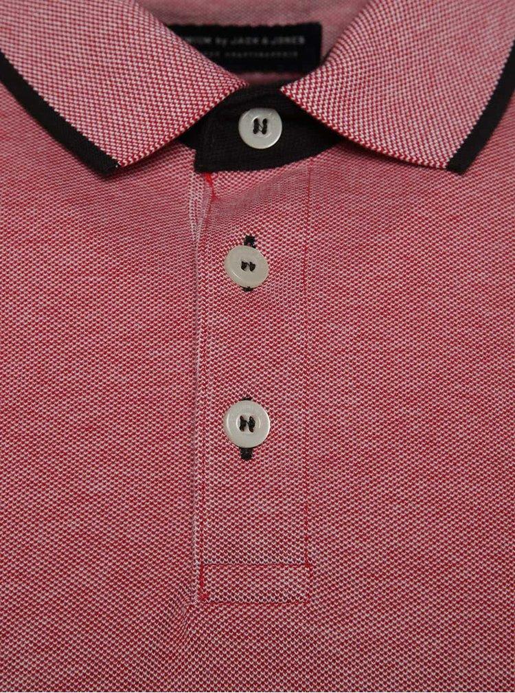 Tricou polo rosu melanj Jack & Jones Paulos din bumbac cu logo