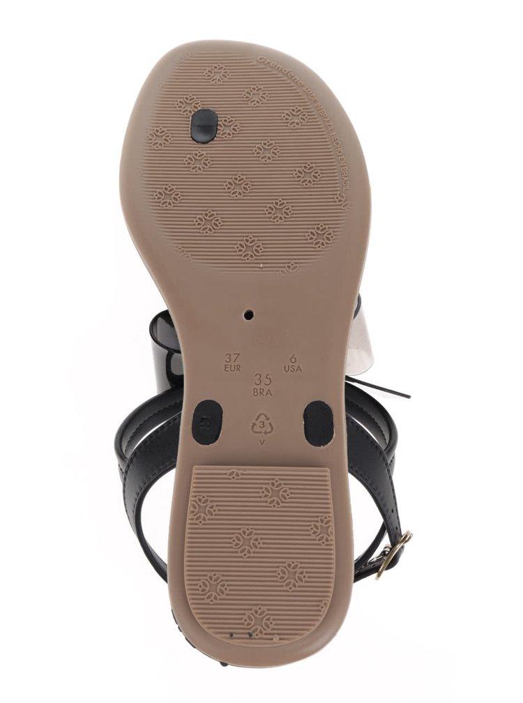 Černé sandály s mašlí Grendha