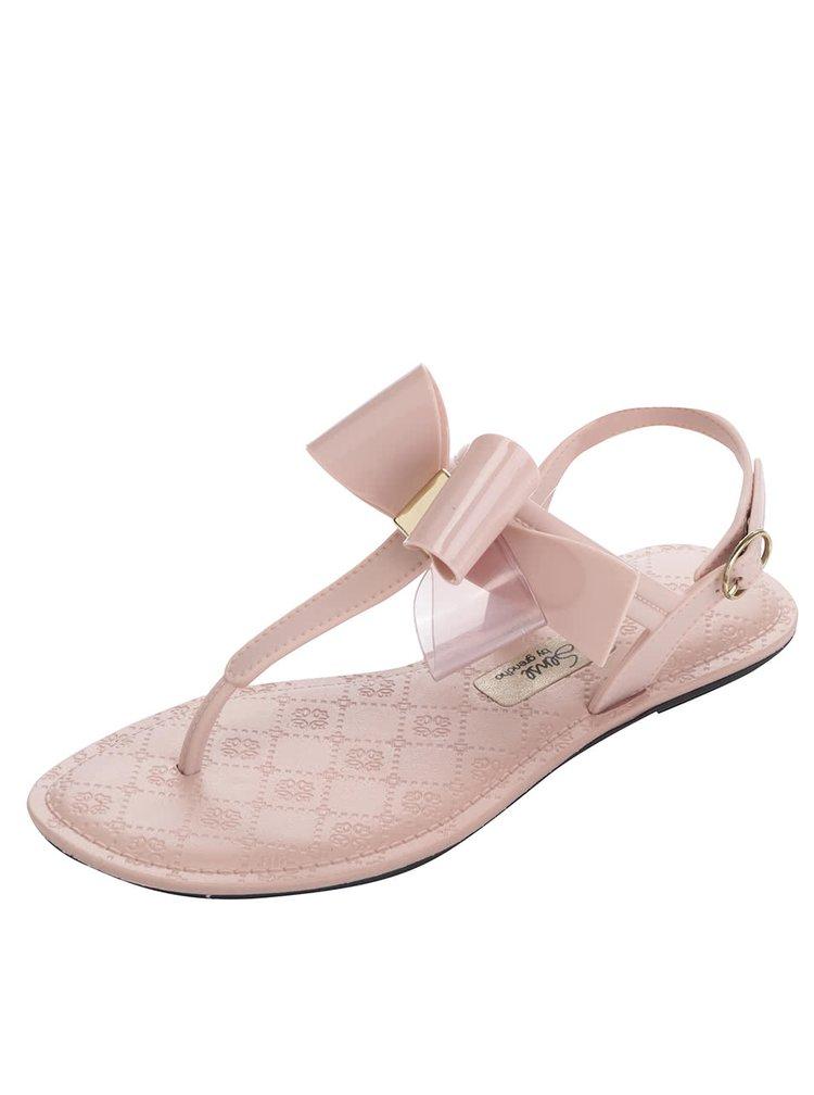 Sandale roz Grendha cu fundă decorativă și detaliu auriu