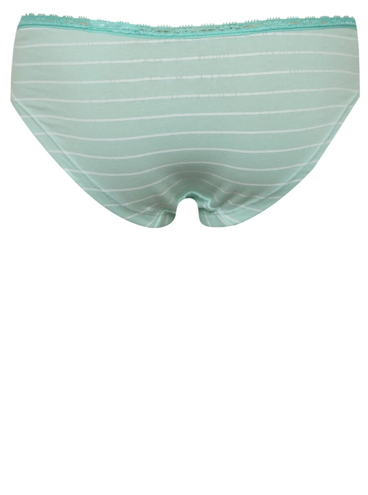 Sada tří vzorovaných holčičích kalhotek v tyrkysové a bílé barvě 5.10.15.