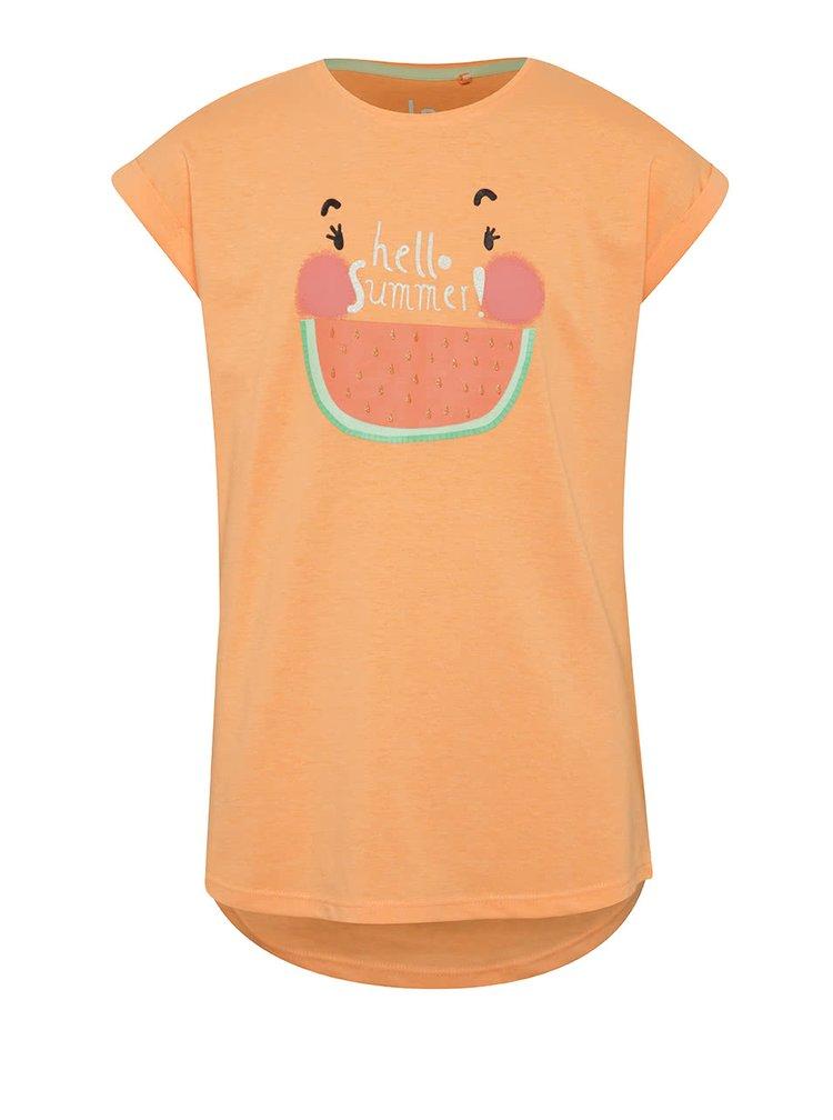 Oranžové holčičí tričko s potiskem 5.10.15.