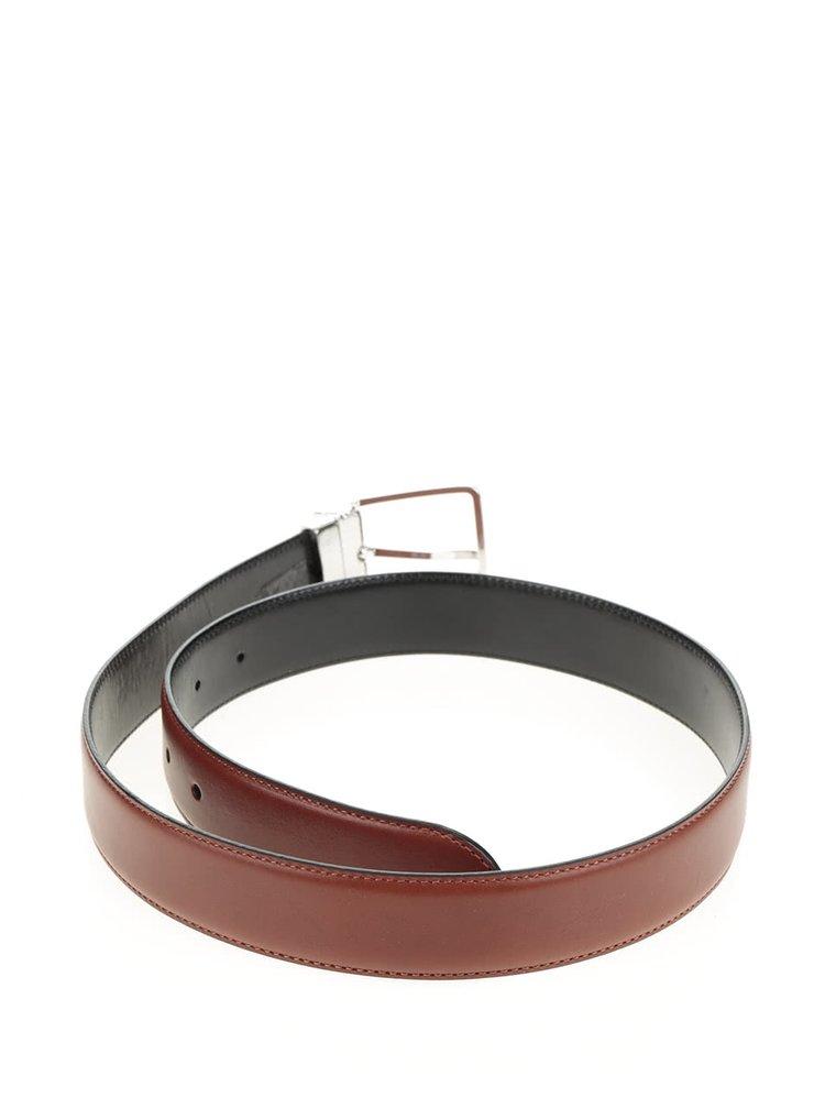 Hnědý pánský oboustranný kožený pásek GANT Reversible