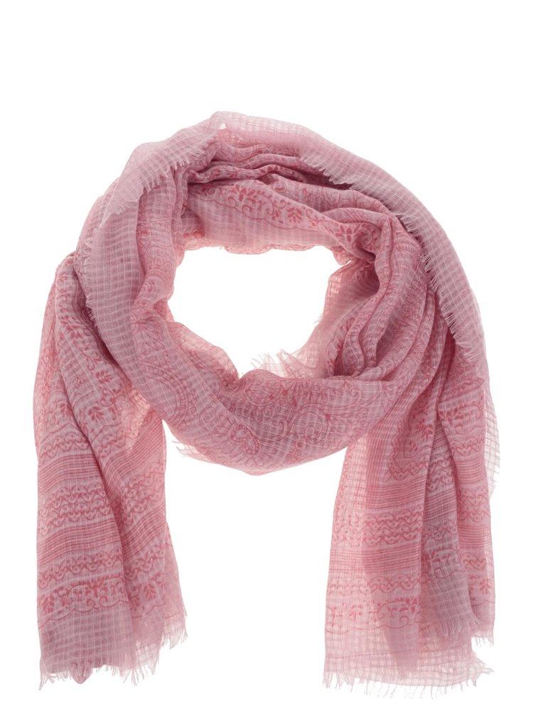 Růžový dlouhý vzorovaný šátek Pieces Sandy