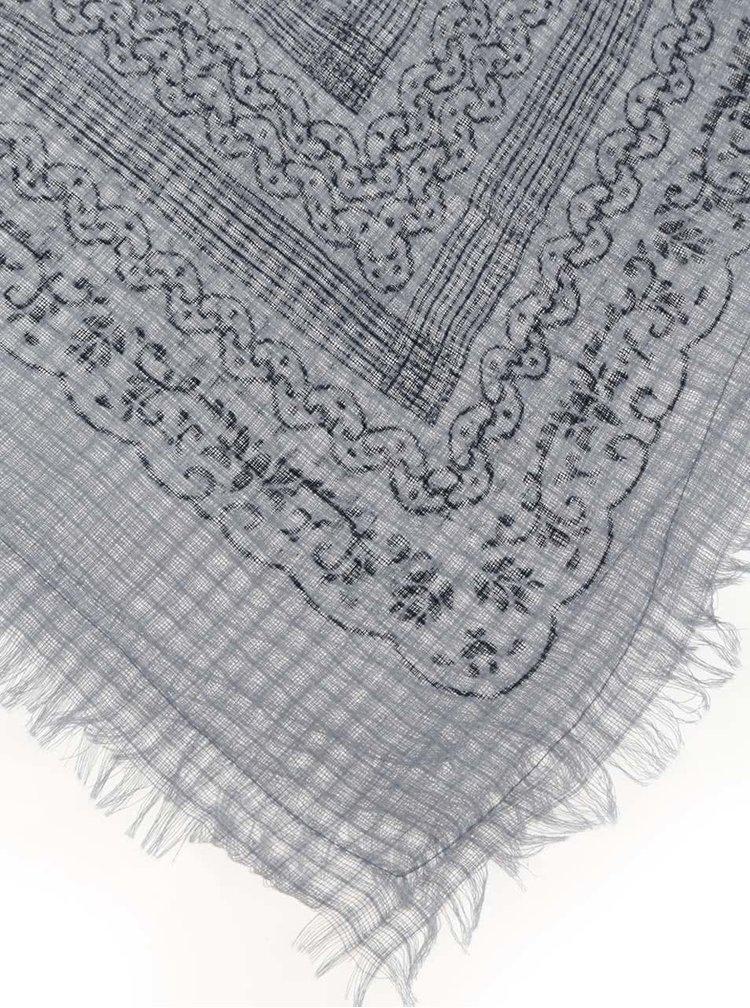 Modro-šedý dlouhý vzorovaný šátek Pieces Sille