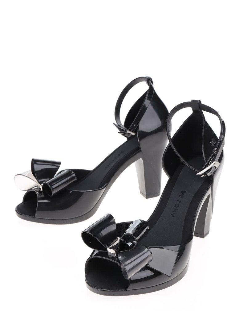 Pantofi negri peep-toe Zaxy cu fundita