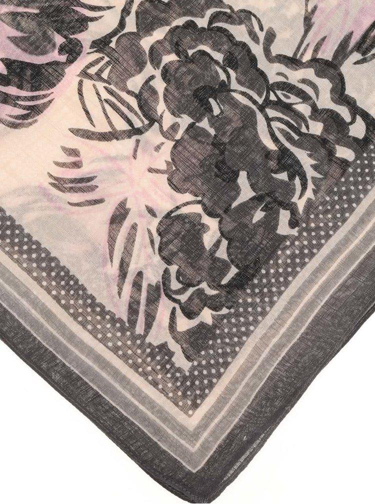 Eșarfă gri cu roz Pieces Sille cu imprimeu floral