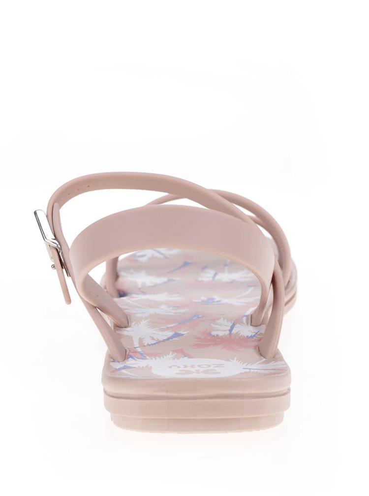 Růžové sandály s tropickým motivem Zaxy