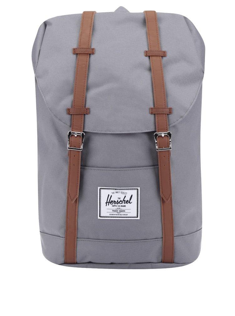 Šedý batoh s hnědými popruhy Herschel Retreat 19,5l