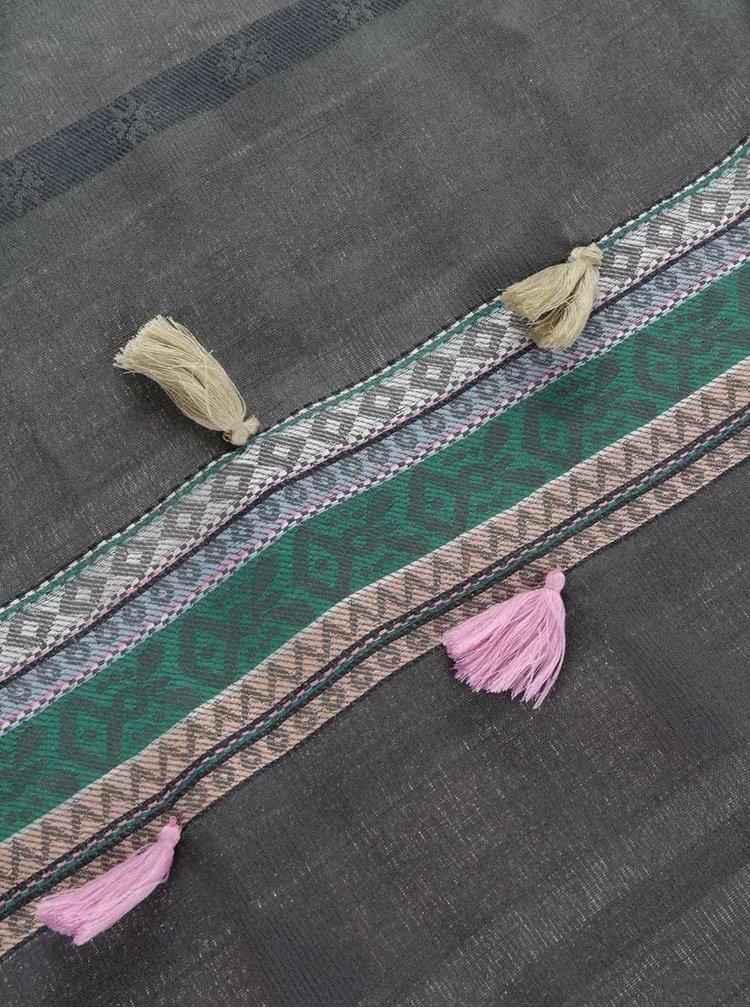 Tmavě šedý dlouhý šátek se střapci Pieces Lisa