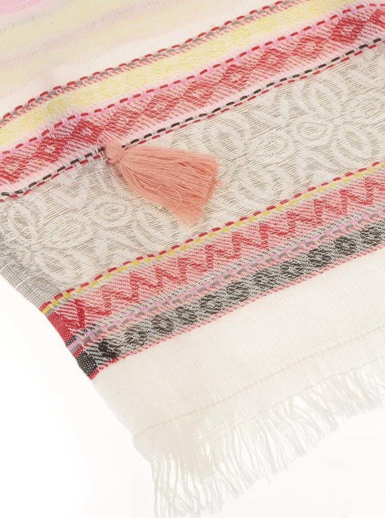 Krémový dlouhý šátek se střapci Pieces Lisa