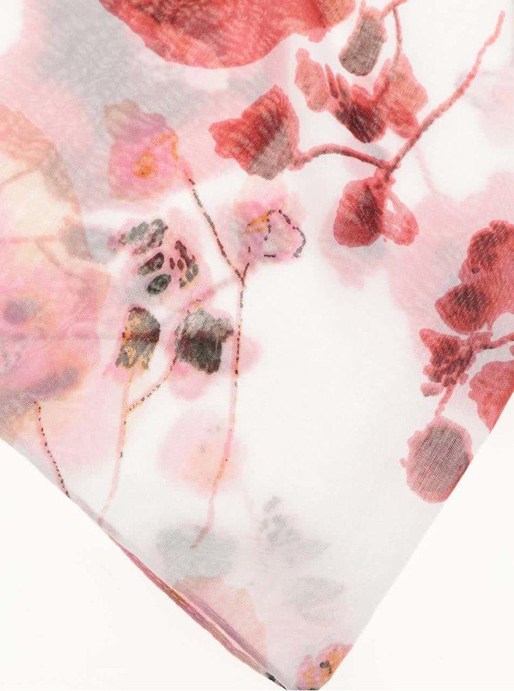 Eșarfă circulară albă Pieces Jemi Pieces Jemi cu model floral