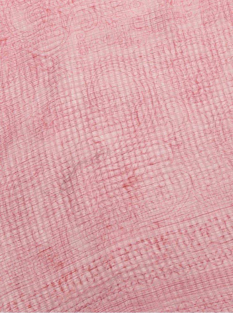 Esarfa roz Pieces Sandy cu model gemetric si floral