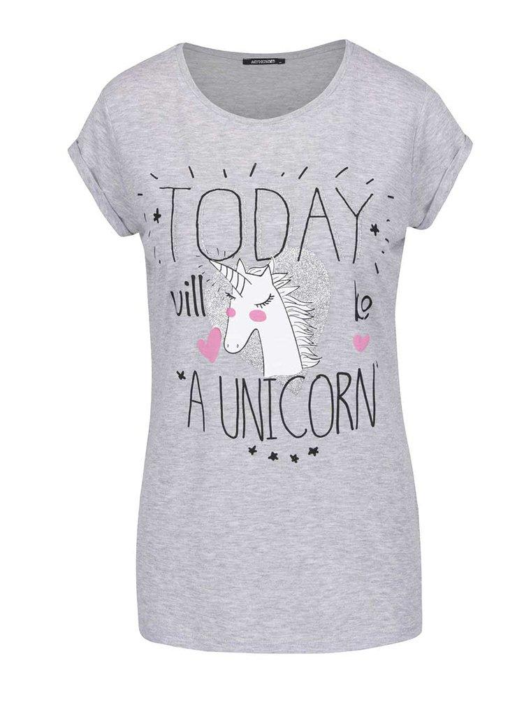 Šedé volné tričko s potiskem Haily´s Today