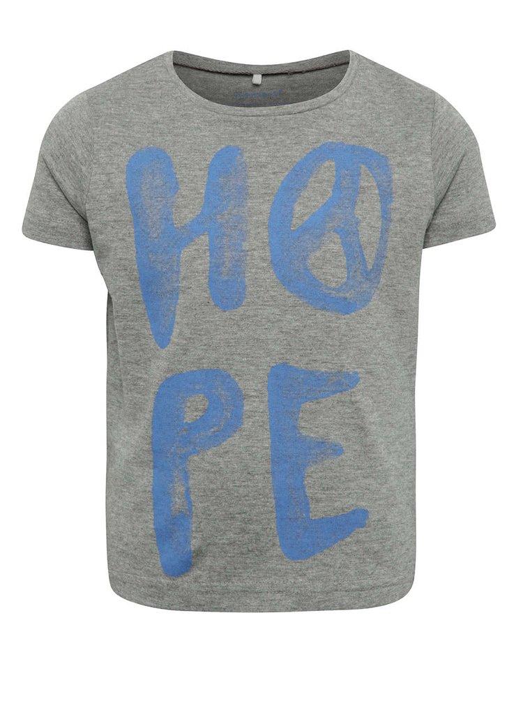 Šedé holčičí tričko s potiskem name it Kope