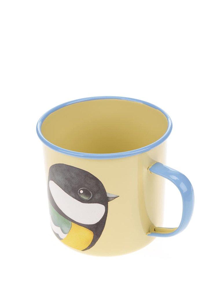 Žlutý plechový hrnek s motivem ptáka Gift Republic