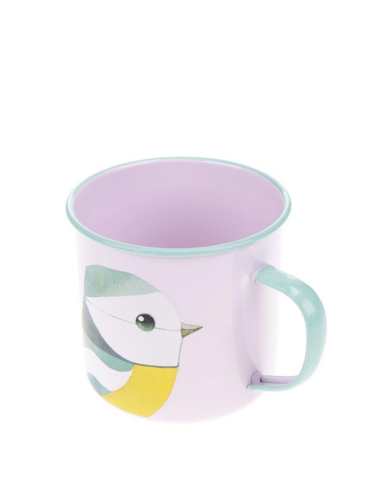 Růžový plechový hrnek s motivem ptáka Gift Republic