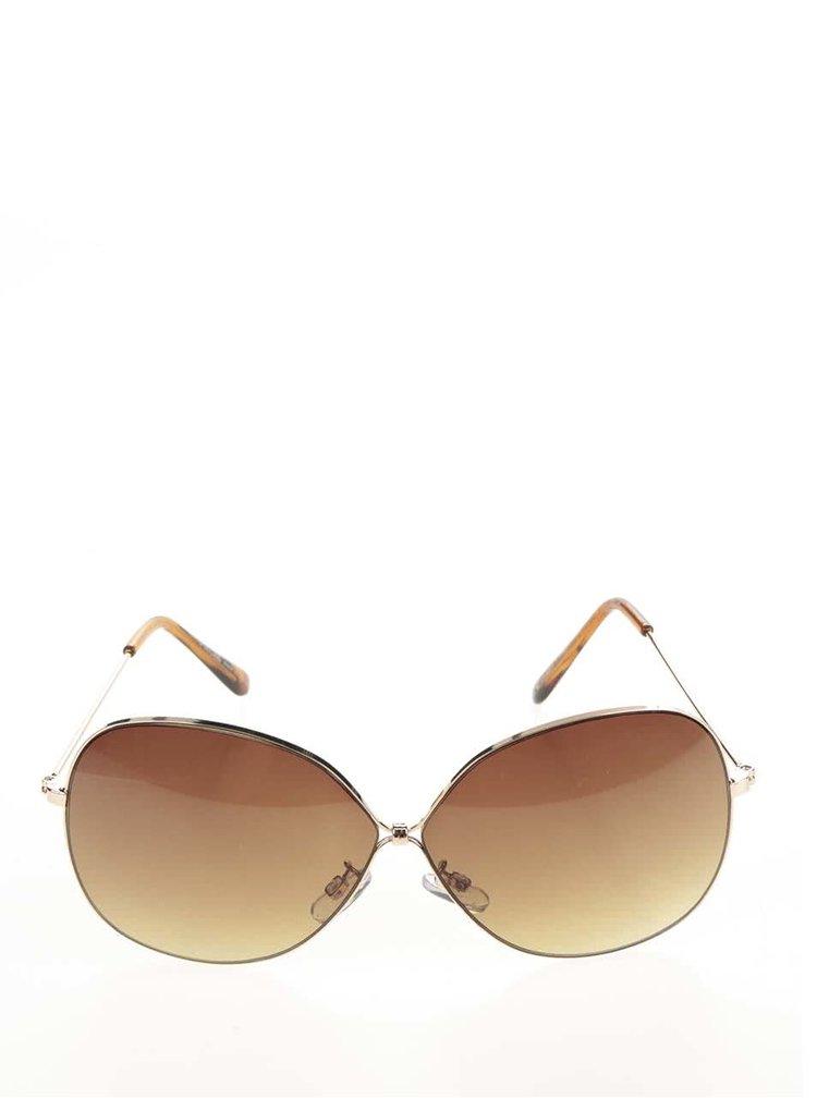 Sluneční brýle s obroučky ve zlaté barvě Pieces Lola