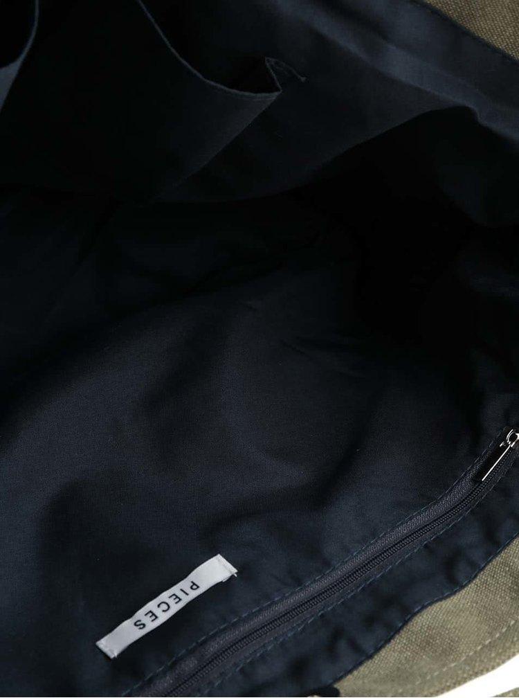 Khaki shopper se vzorovanými detaily Pieces Sharon