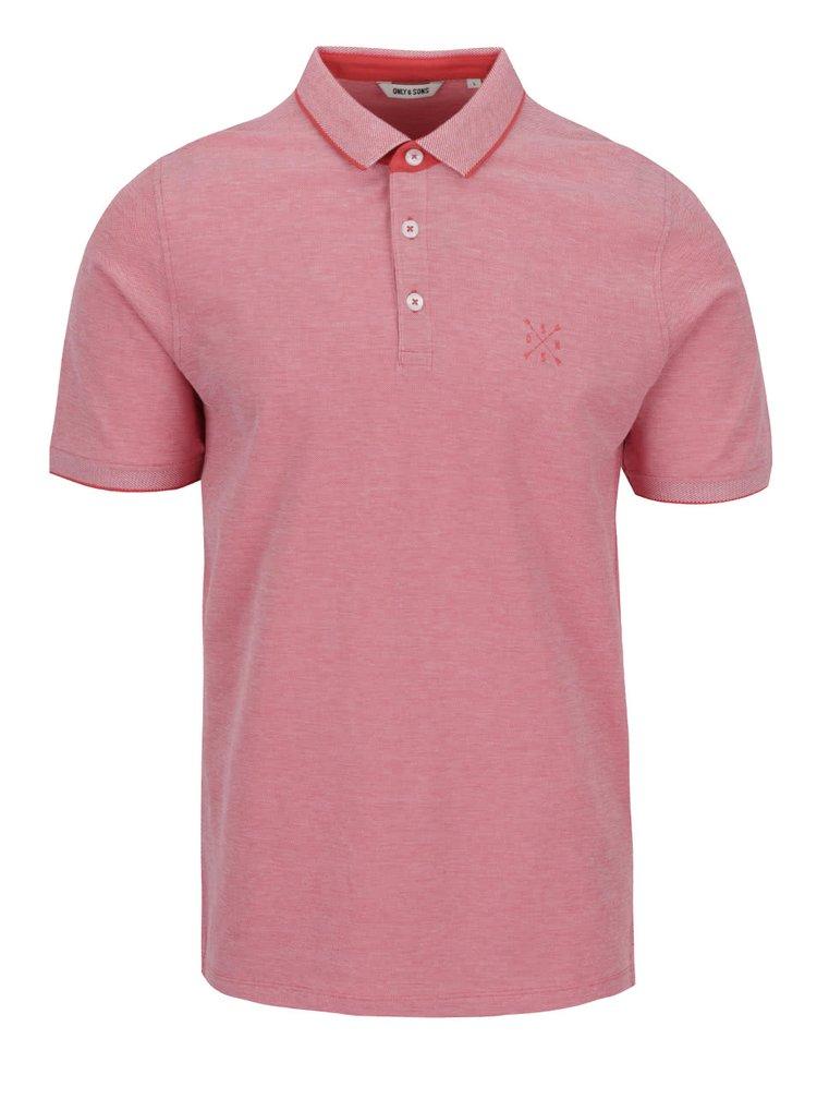 Tricou polo roșu deschis ONLY & SONS Stan din bumbac cu logo
