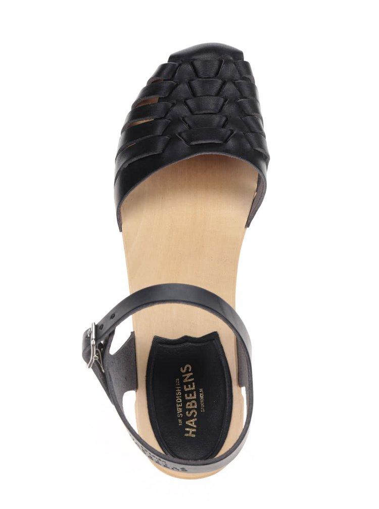 Sandale sabot negre din piele Swedish Hasbeens Snake Debutant