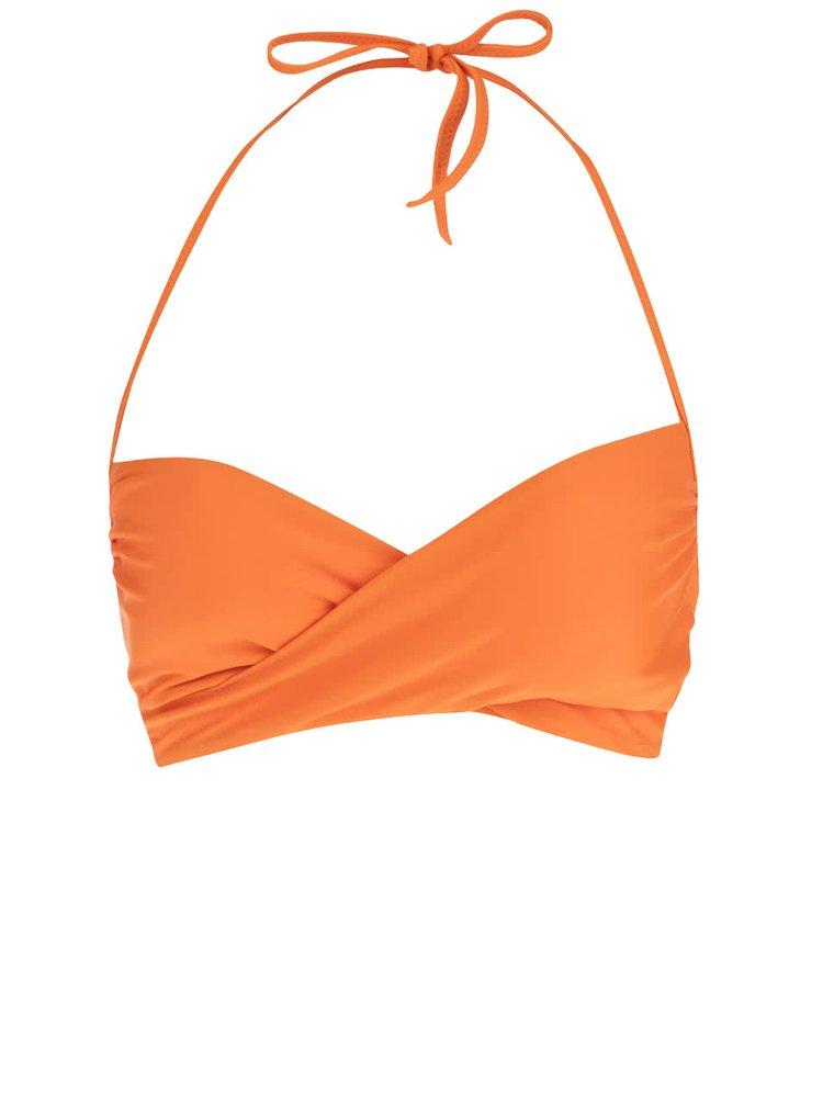 Sutien de baie bandeau portocaliu Pieces Liliela cu bretea halter