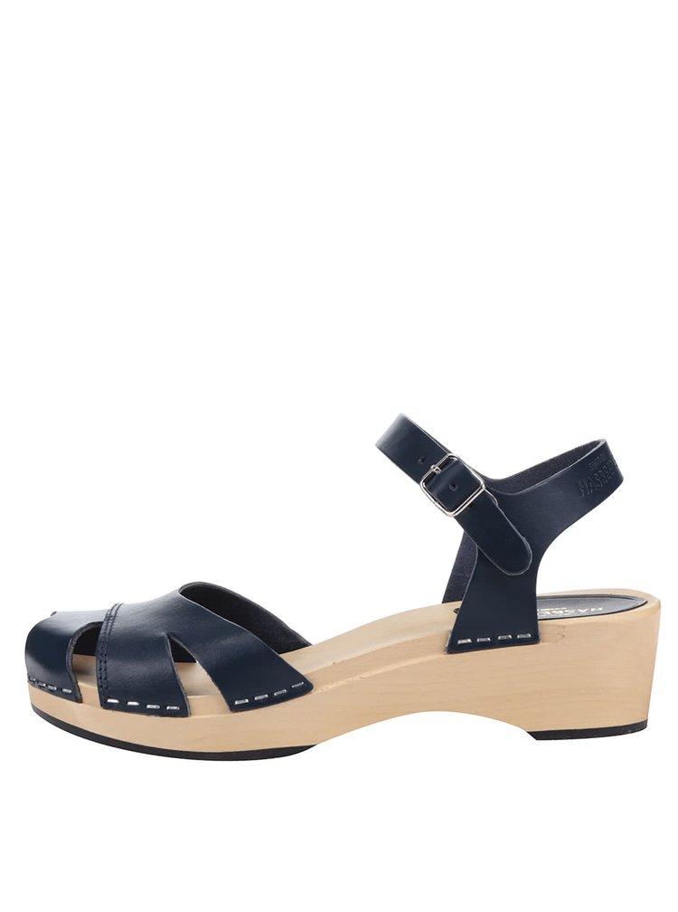 Sandale sabot bleumarin din piele Swedish Hasbeens Suzanne Debutant