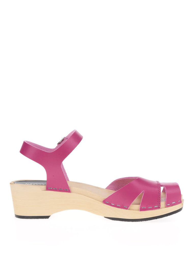 Sandale sabot roz din piele Swedish Hasbeens Suzanne Debutant