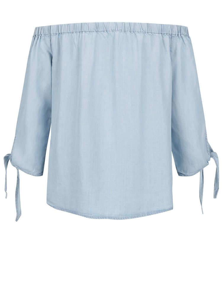 Světle modrý džínový top s odhalenými rameny ONLY India