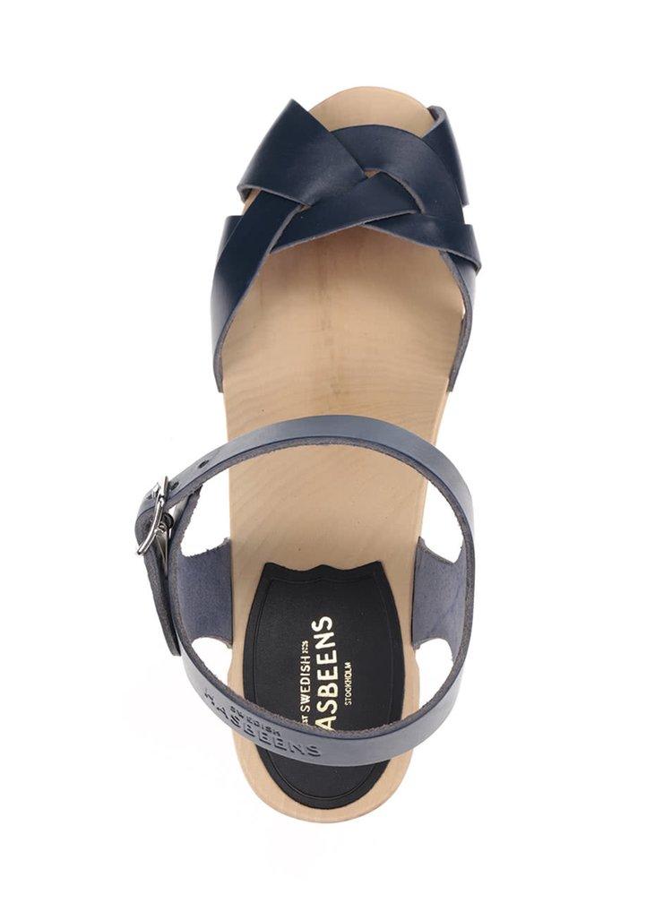 Dřeváky na podpatku s modrými koženými pásky Swedish Hasbeens Kringlan