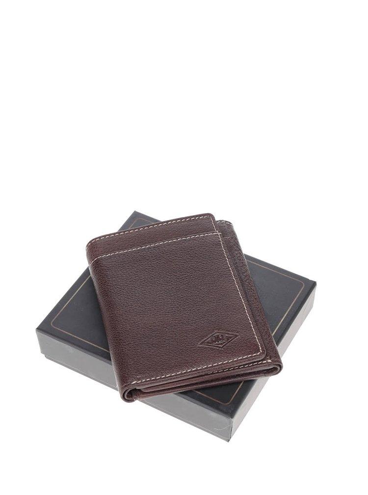 Tmavě hnědá kožená peněženka Dice Trifold
