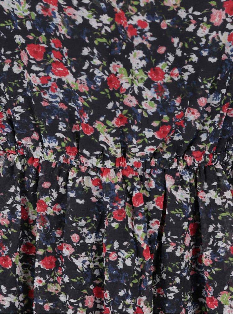 Tmavě modré květované šaty bez rukávů ONLY Dorthea