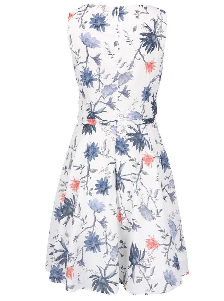 Bílé květované šaty bez rukávů ONLY Kiss