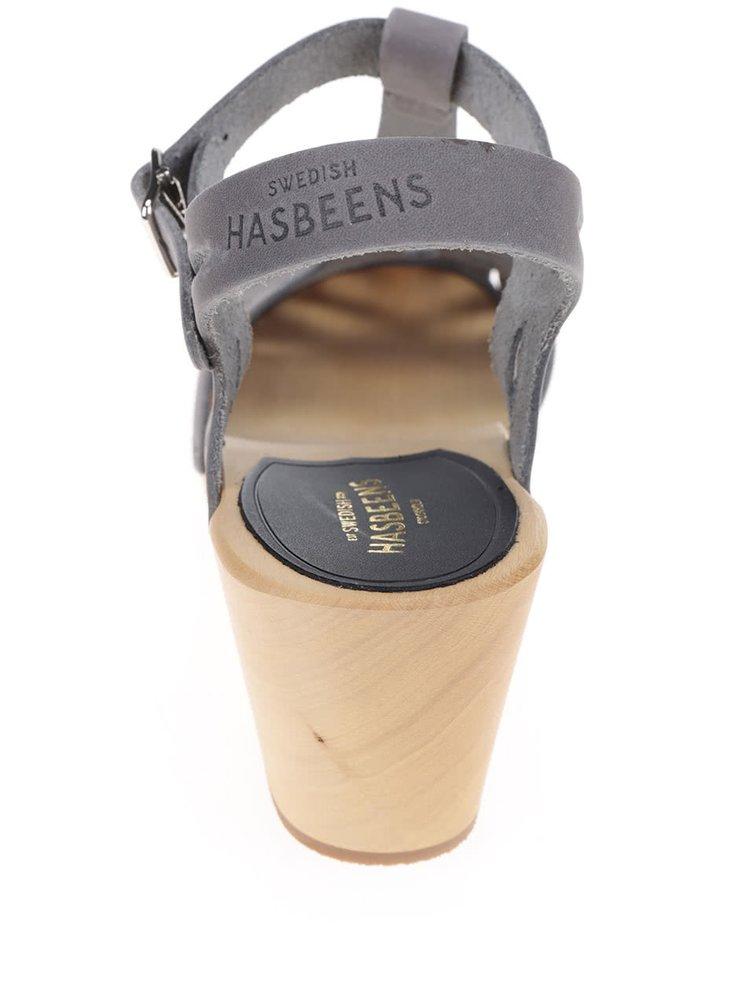 Saboti gri din piele cu decupaje Swedish Hasbeens Lacy Sandal
