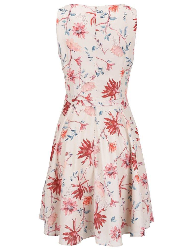 Krémové květované šaty bez rukávů ONLY Kiss