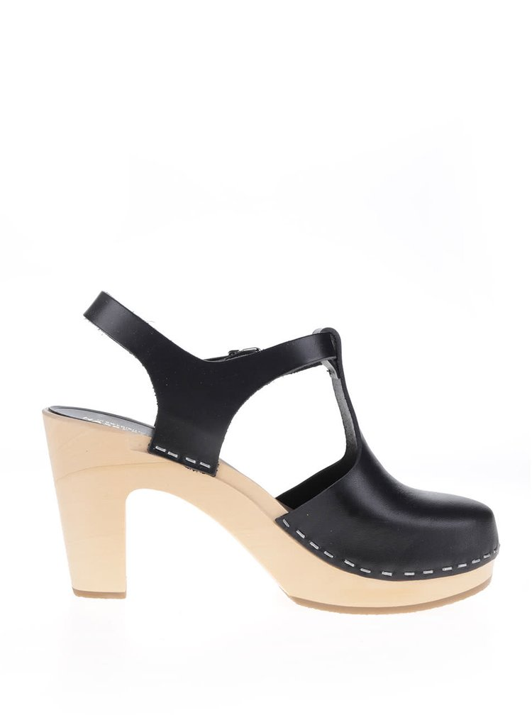 Sandale negre sabot din piele cu varf acoperit si toc Swedish Hasbeens T-Strap Sky High