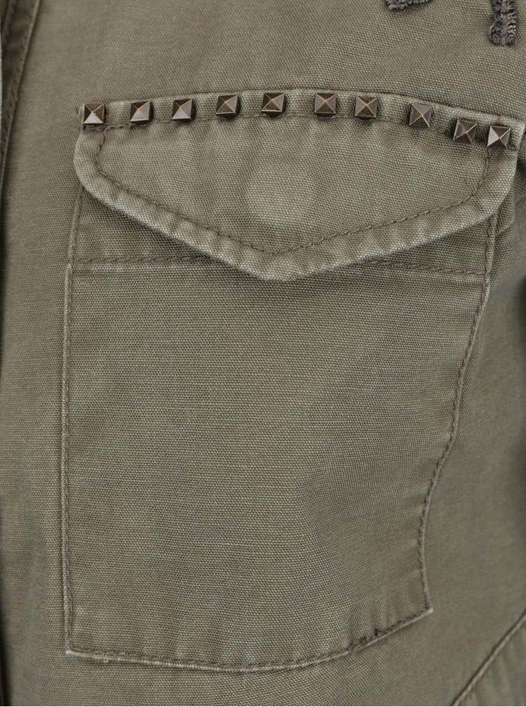Jacheta kaki ONLY Austin cu buzunare și broderie
