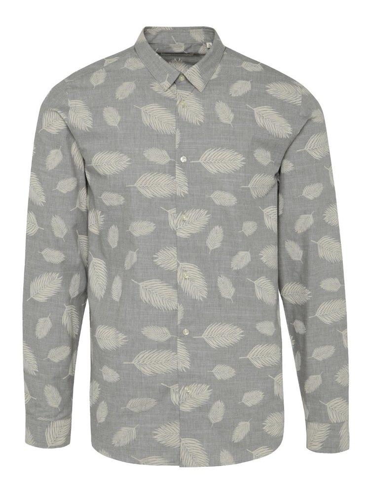 Šedá vzorovaná slim fit košile Jack & Jones Leaf