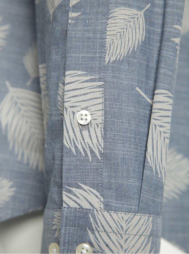 Cămașă albastră Jack & Jones Leaf slim fit din bumbac cu print