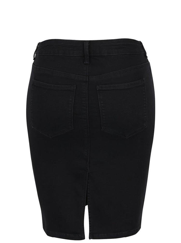 Černá pouzdrová džínová sukně s rozparkem ONLY Rain