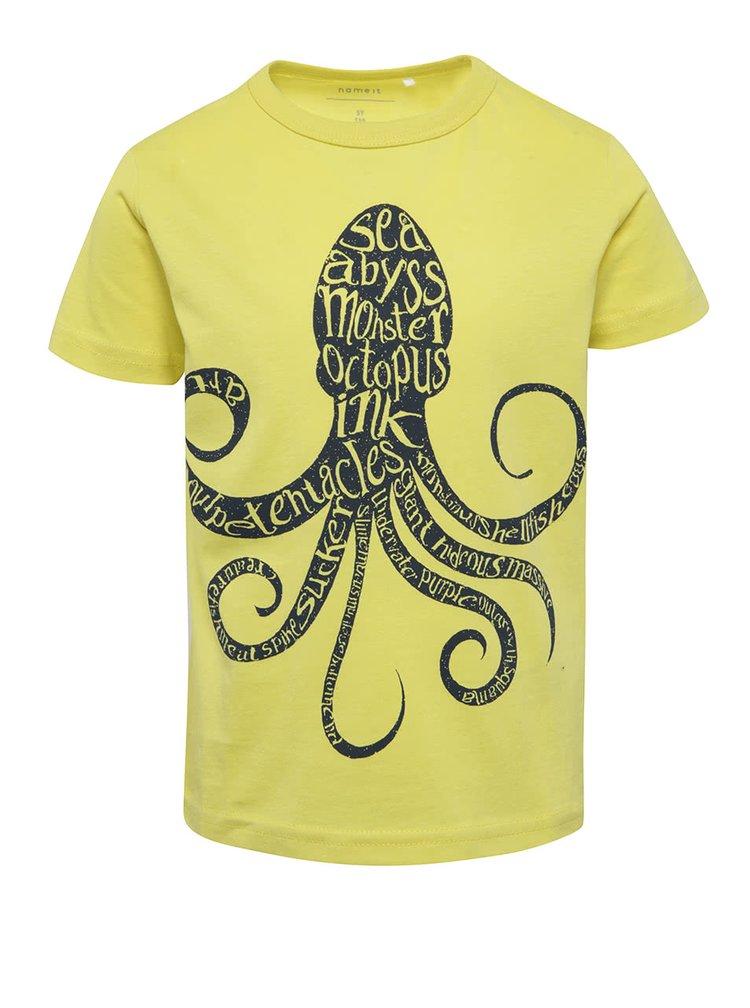 Žluté klučičí triko s potiskem chobotnice name it Victor