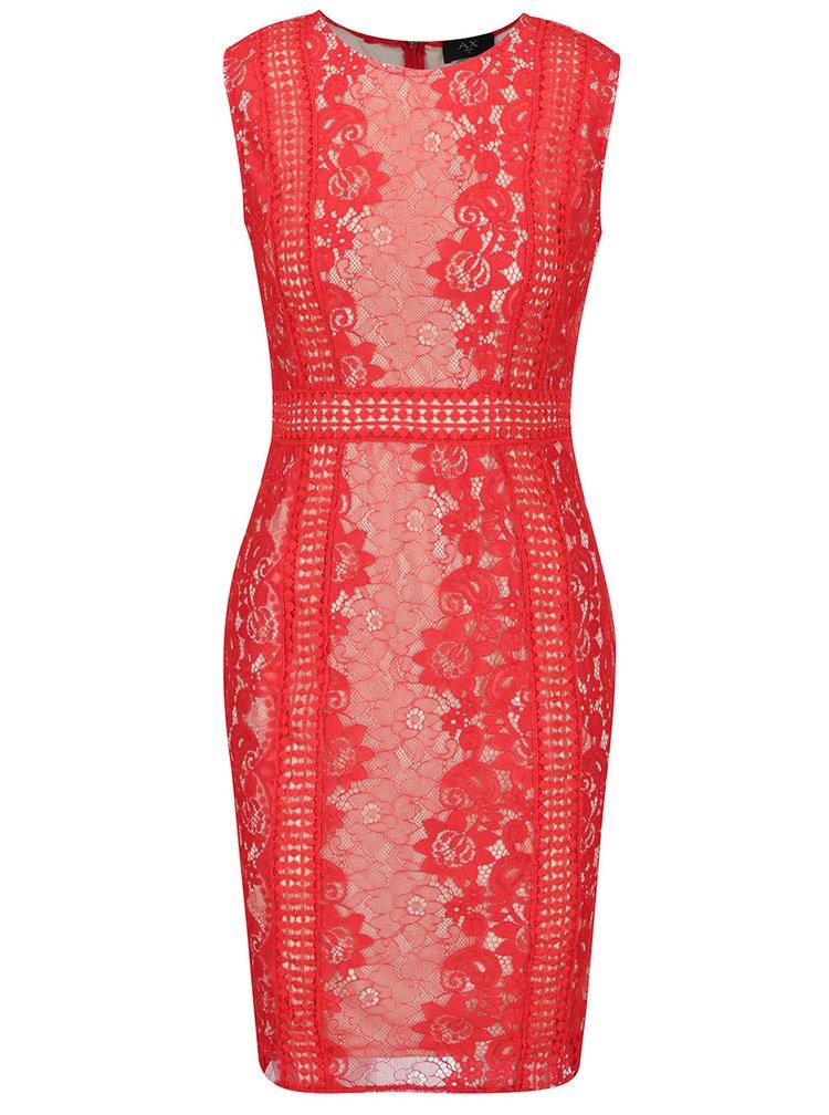 Krémovo-červené krajkové šaty AX Paris