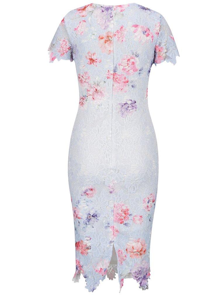 Modré krajkové šaty s krátkým rukávem AX Paris