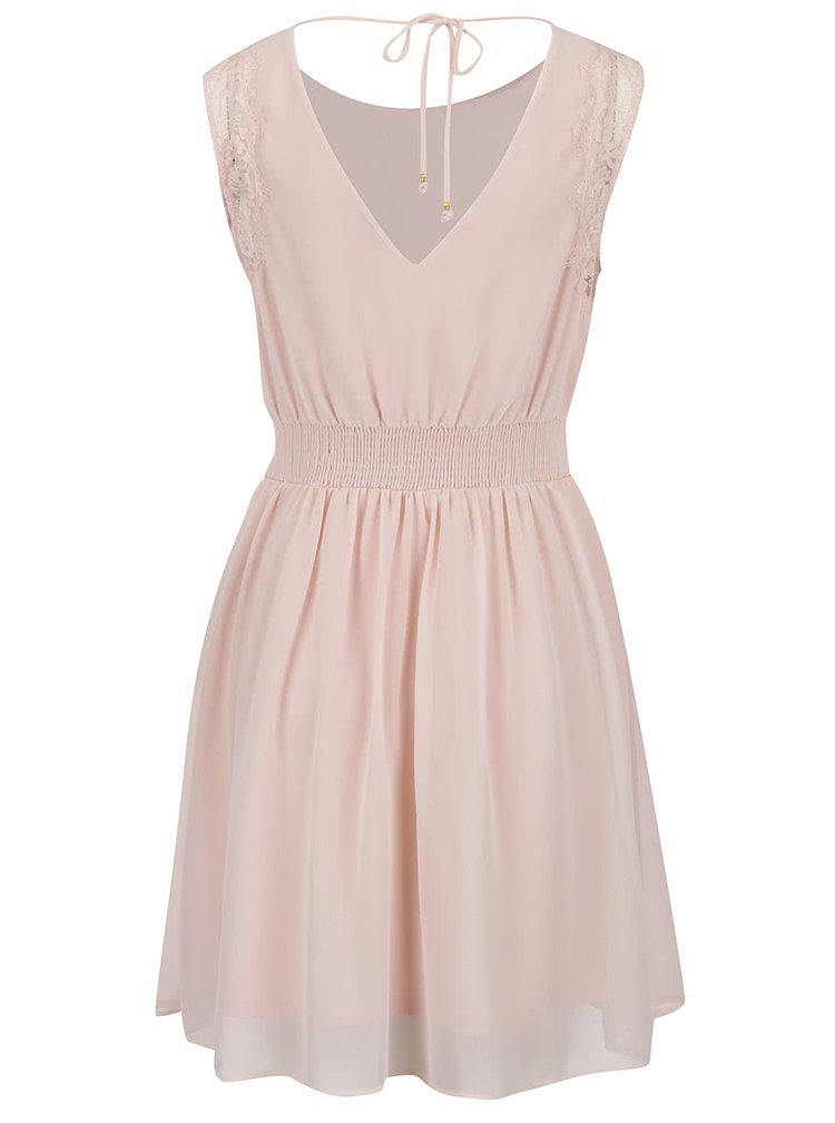 Světle růžové šaty s krajkovými detaily VERO MODA Lena
