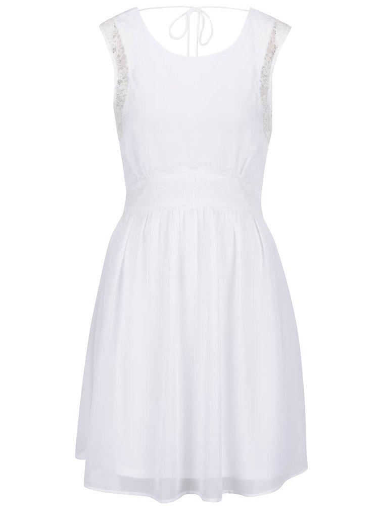 Rochie albă VERO MODA Lena cu detalii din dantelă