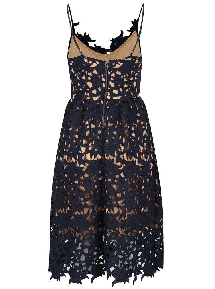 Tmavě modré krajkové šaty VERO MODA Beauti