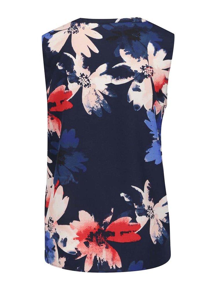 Tmavě modrá květovaná halenka bez rukávů VERO MODA Megan