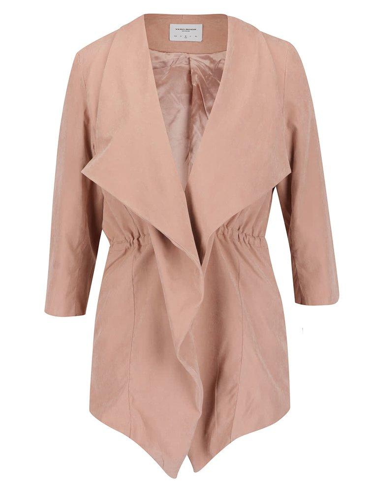 Starorůžový krátký lehký kabát s 3/4 rukávy VERO MODA Kacy