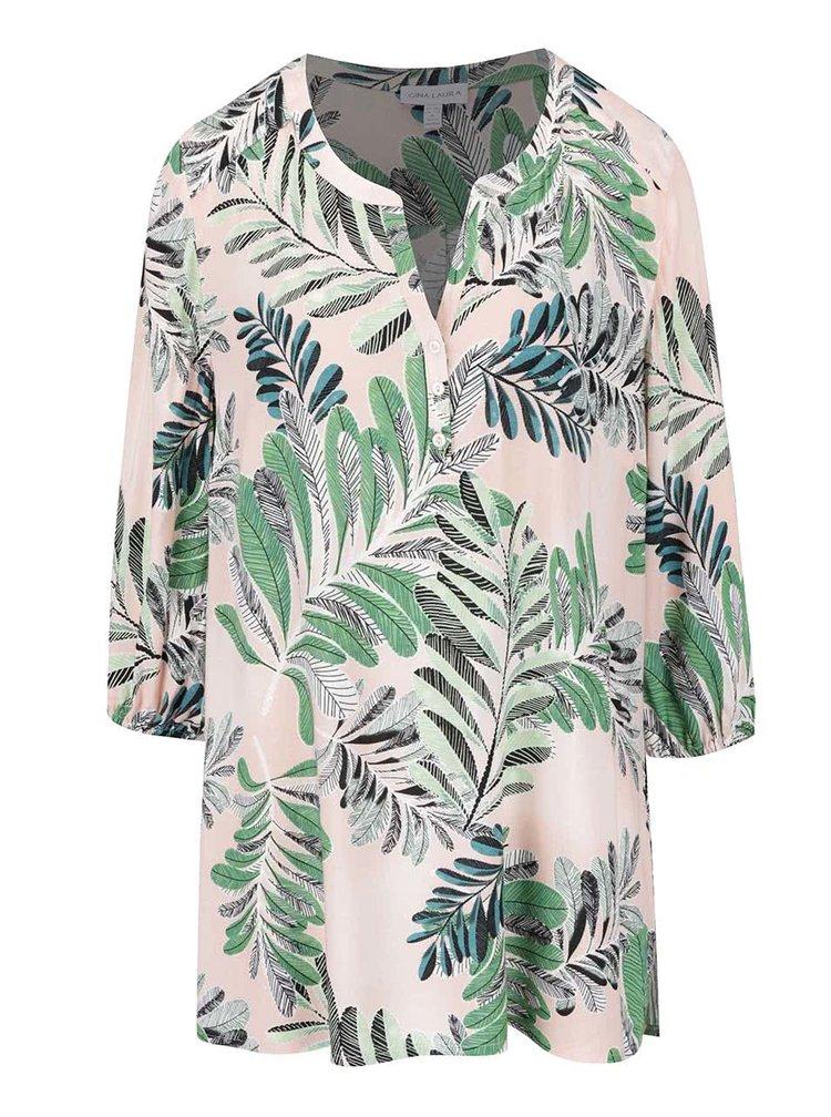 Bluză tunică roz pal Gina Laura cu imprimeu tropical verde